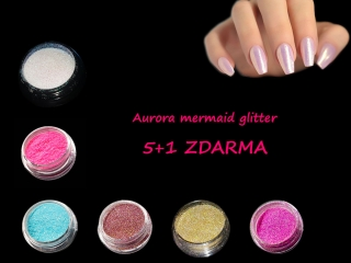 Glitter mermaid aurora SET 10, 5+1 zdarma
